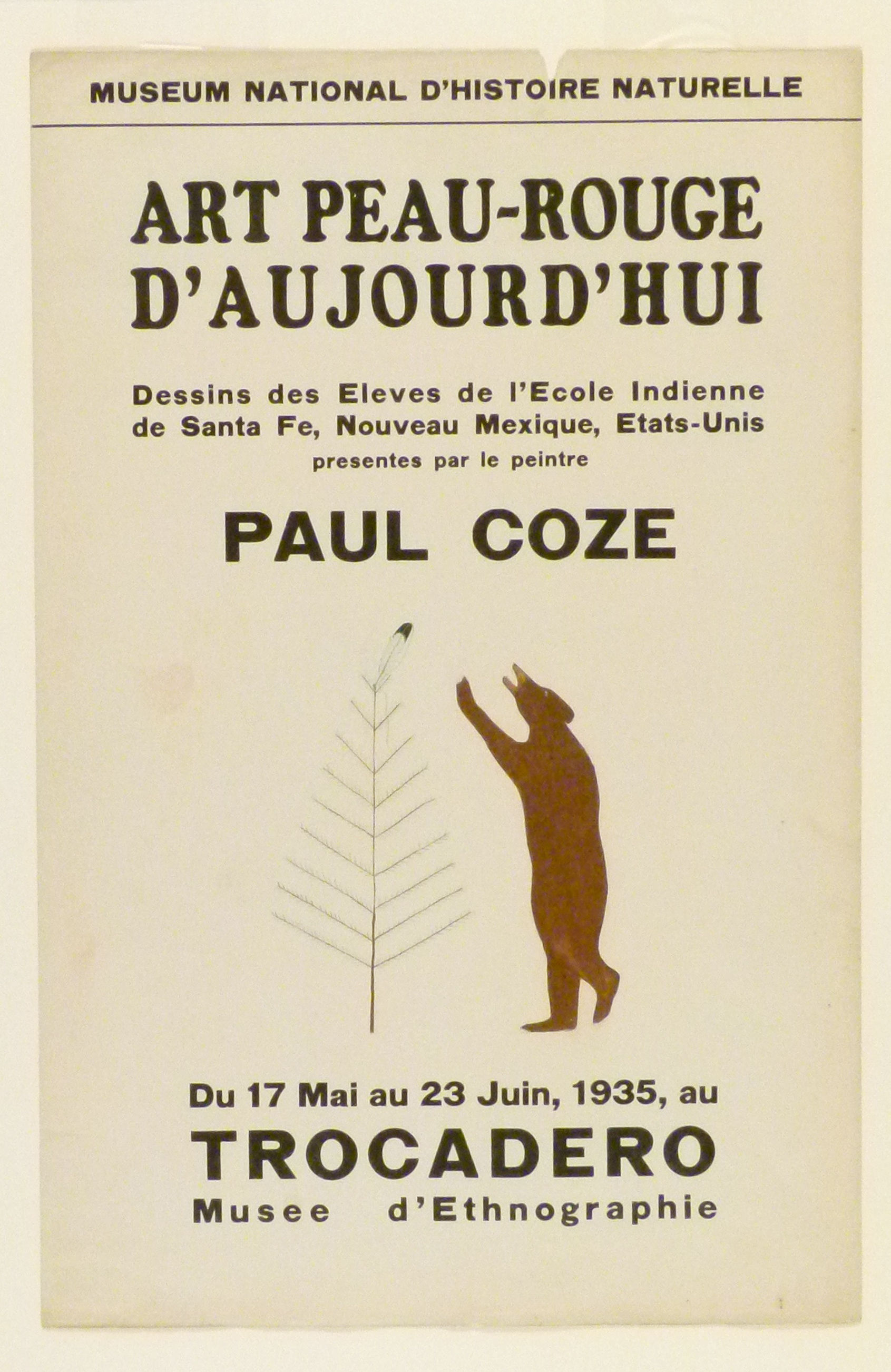 Art Exhibition Poster with painting of brown bear standing upright facing a leafless tree with a feather at its top.