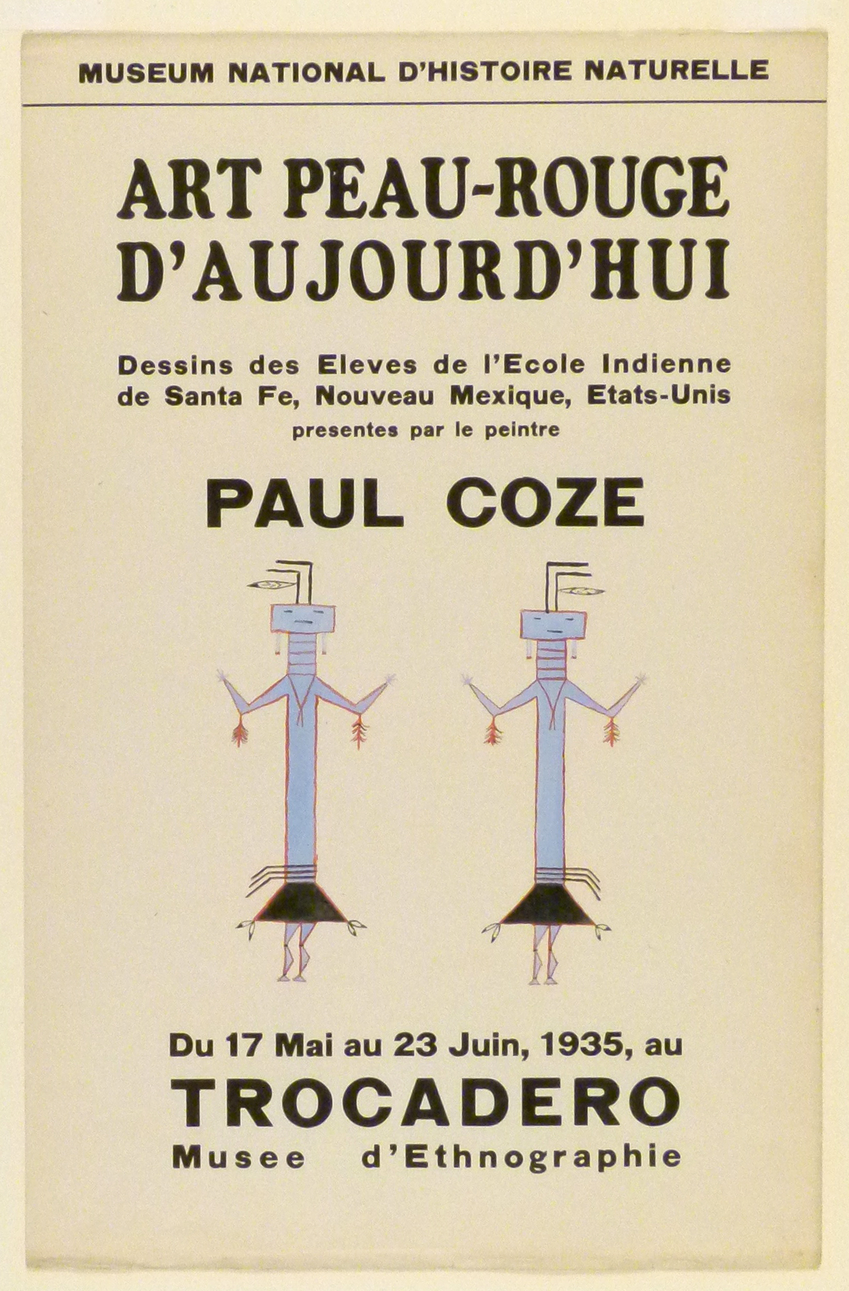 Art Exhibition Poster with painting of two rectilinear blue figures with long torsos outlined in red.