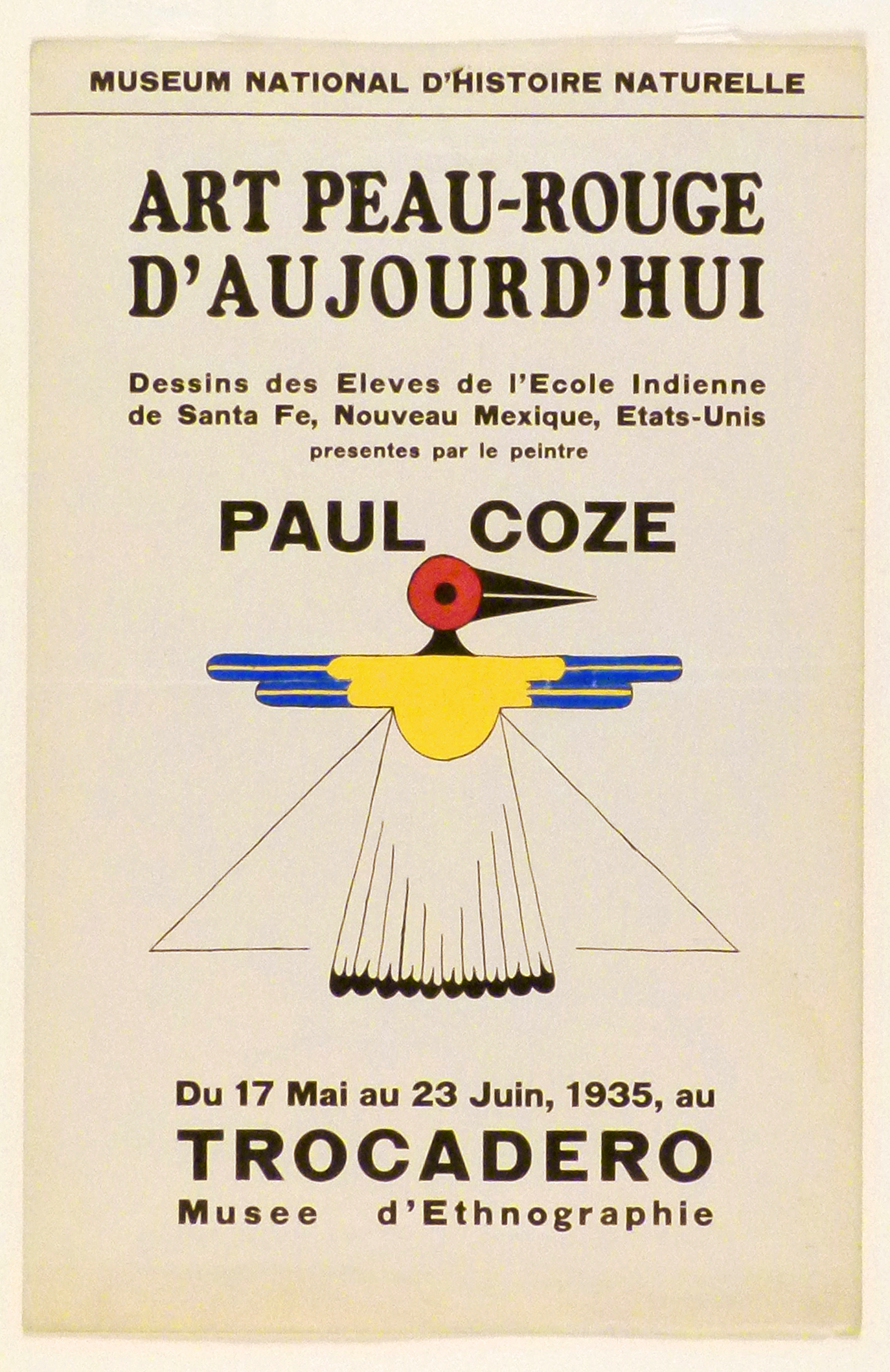 Art Exhibition Poster with painting of semi-representational bird in black, red, yellow, and blue, its head facing right.