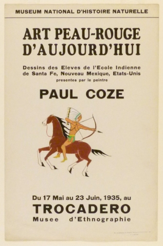 Art Exhibition Poster with painting of a figure in a feathered headdress shooting an arrow toward the right. He rides a brown horse that is moving toward the left.
