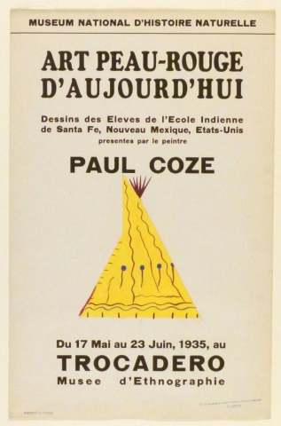Art Exhibition Poster with painting of a yellow tipi with maroon and blue designs.