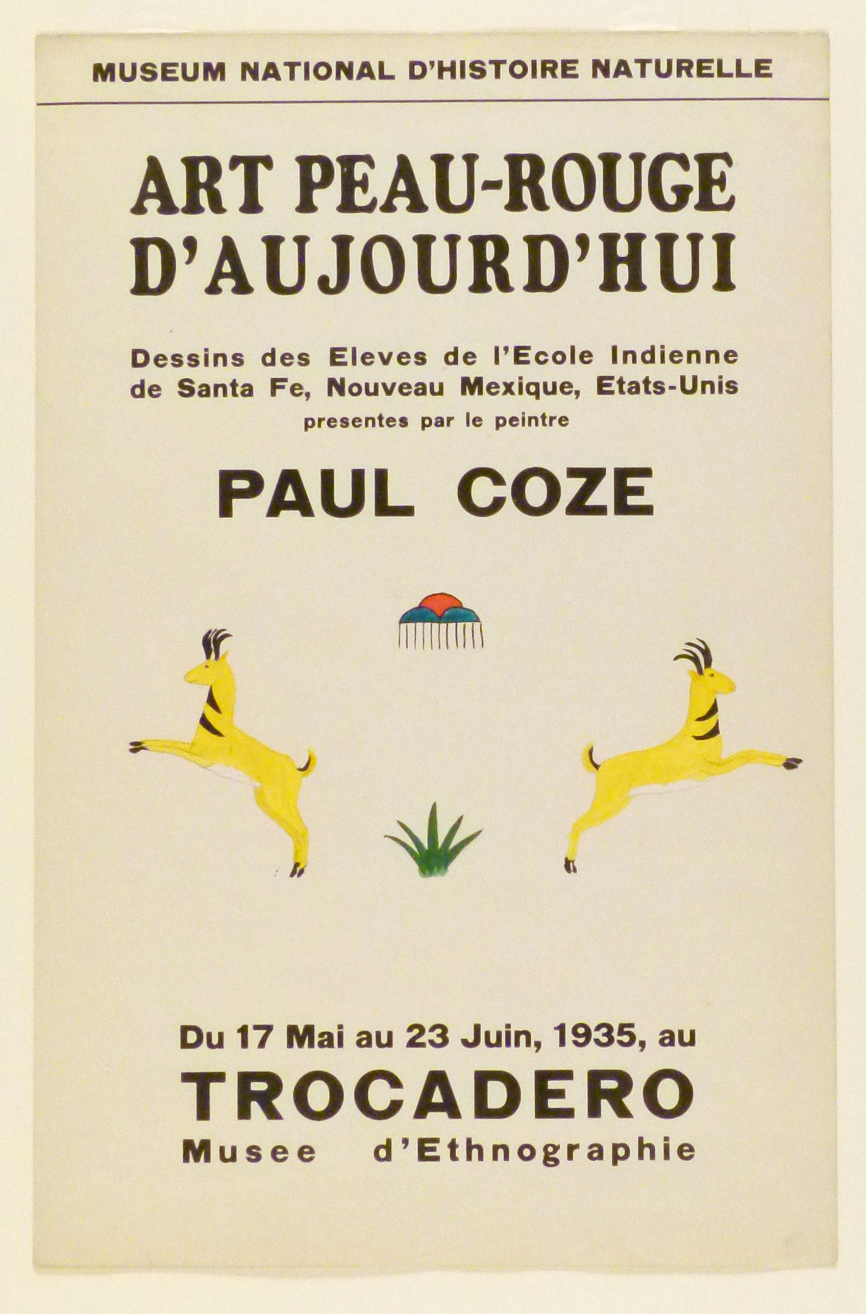 Art Exhibition Poster with painting of two identical yellow antelopes leaping away from each other. Between them at center is a green plant and a raincloud design.