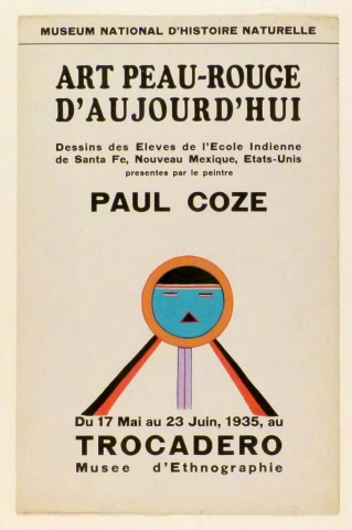 Art Exhibition Poster with painting of turquoise circle with a schematic face and three rays extending from the bottom. The two outermost rays are red and black, the middle is lilac and red.