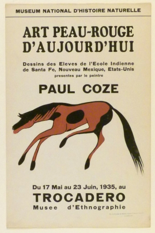 Art Exhibition Poster with painting of a black and brown horse with a long tail moving toward the left.