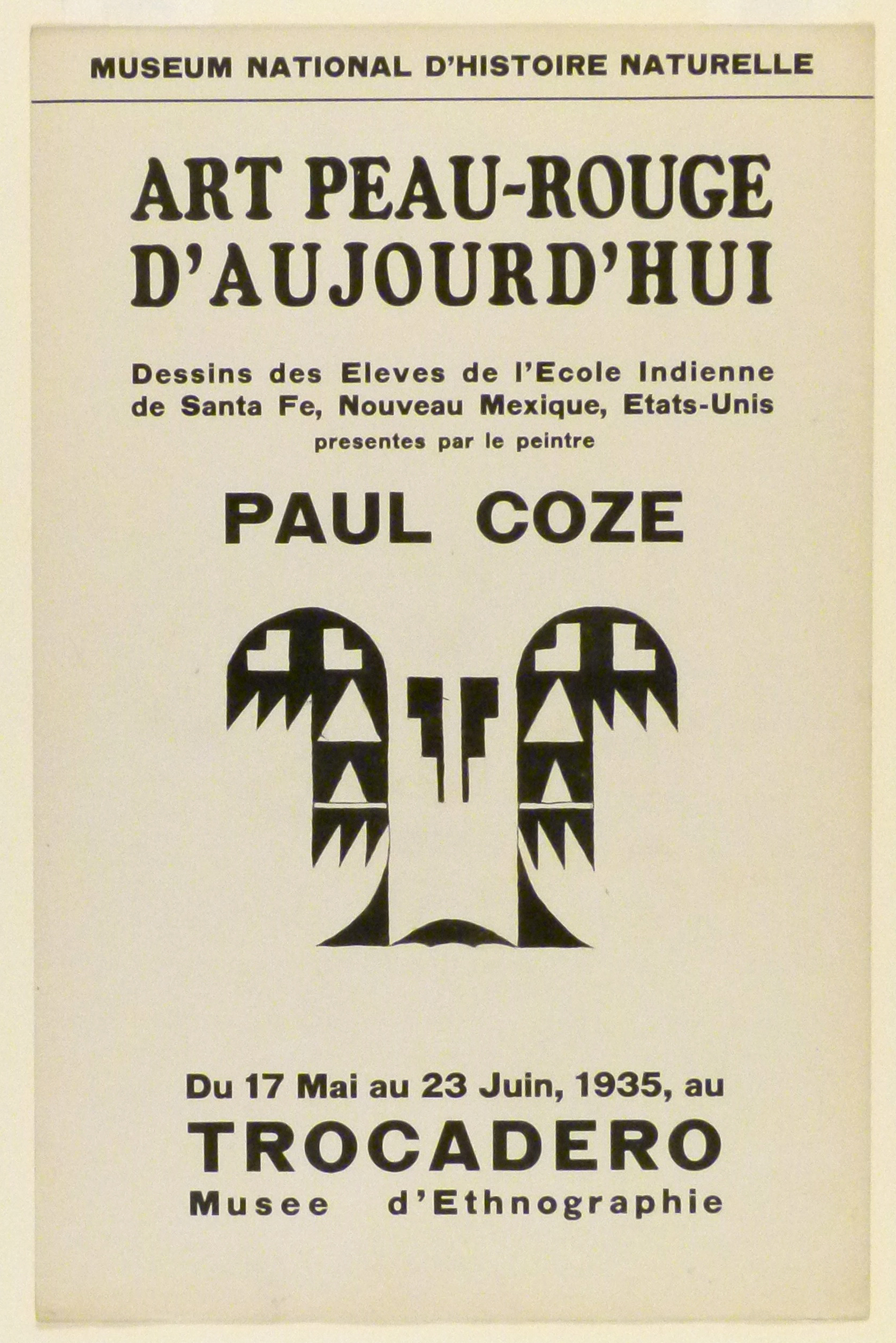Art Exhibition Poster with painting of a symmetrical black design comprised of triangles and other geometric forms.