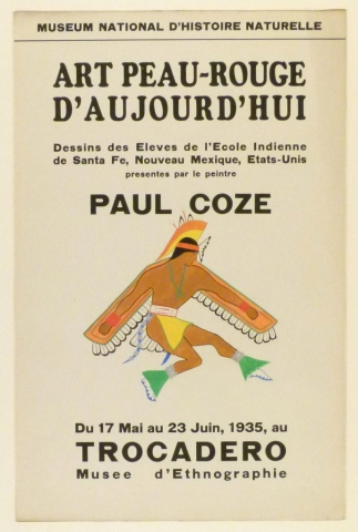 Art Exhibition Poster with painting of dancing figure facing right in a feathered cape and headdress.