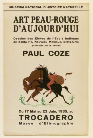 Art Exhibition Poster with painting of figure on a rearing horse, pointing a bow and arrow at a buffalo that runs alongside them. An undulating groundline with three green corn stalks appears below.