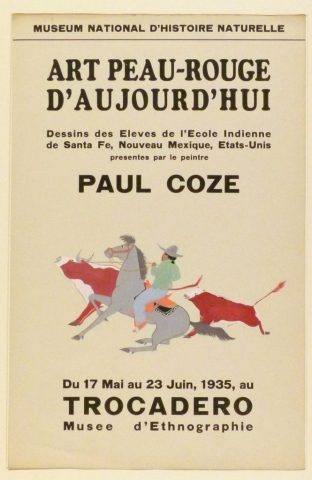 Art Exhibition Poster with painting of a figure on a grey horse wearing a green shirt, blue pants, and cowboy hat, lassoing a red and white cow. Another cow appears behind them, and all three move toward the left.