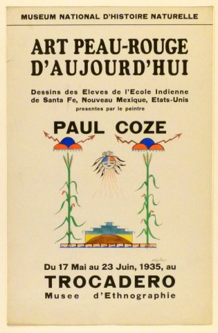 Art Exhibition Poster with painting of two stalks of corn with brightly-colored lightning and raincloud designs above them. Between them is a sun-like figure with a schematic face at center and a pyramidal design at bottom.