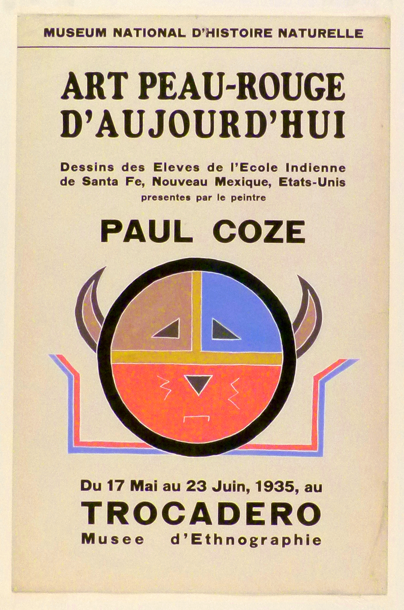 Art Exhibition Poster with painting of circle in blue, brown and orange with a schematic face and horns. Blue and orange parallel lines project from the bottom like arms.
