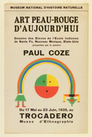 Art Exhibition Poster with painting of rainbow-like arch with skirt and legs at the left end and a torso and head at the right end. Beneath the arch at center is a circle in green, yellow, and orange with a schematic face.