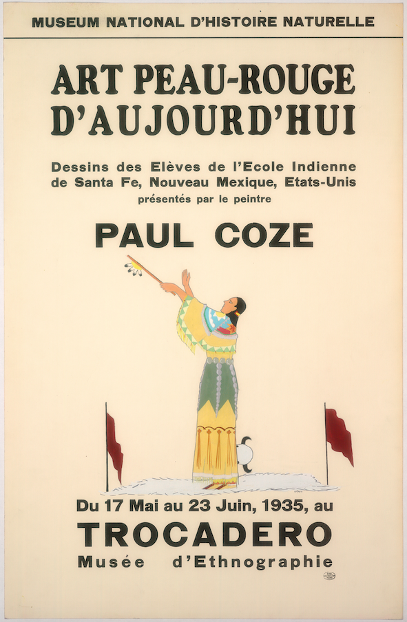 Art Exhibition Poster with painting of figure in yellow dress gesturing toward the sky with a feathered pipe. The figure stands on a white ground surrounded by a buffalo skull and two dark red flags.
