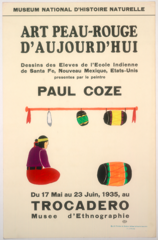 Art Exhibition Poster with painting of figure seated at left, facing an overturned drum at right. Two more drums and a feather hang from a horizontal rod above the figure.