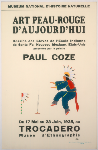 Art Exhibition Poster with painting of dancing figure clothed in blue with a feathered headdress at right, facing a smoking fire and an upright rod with feathers at left.