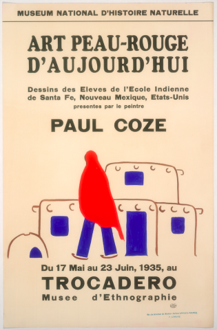 Art Exhibition Poster with painting of figure clothed in a red veil and blue pants. The figure is walking with back to the viewer toward a cluster of adobe structures with blue windows and doors.