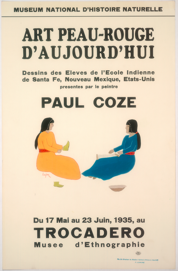 Art Exhibition Poster with painting of two seated figures facing each other. The figure at left is clothed in yellow, the figure at right in blue.