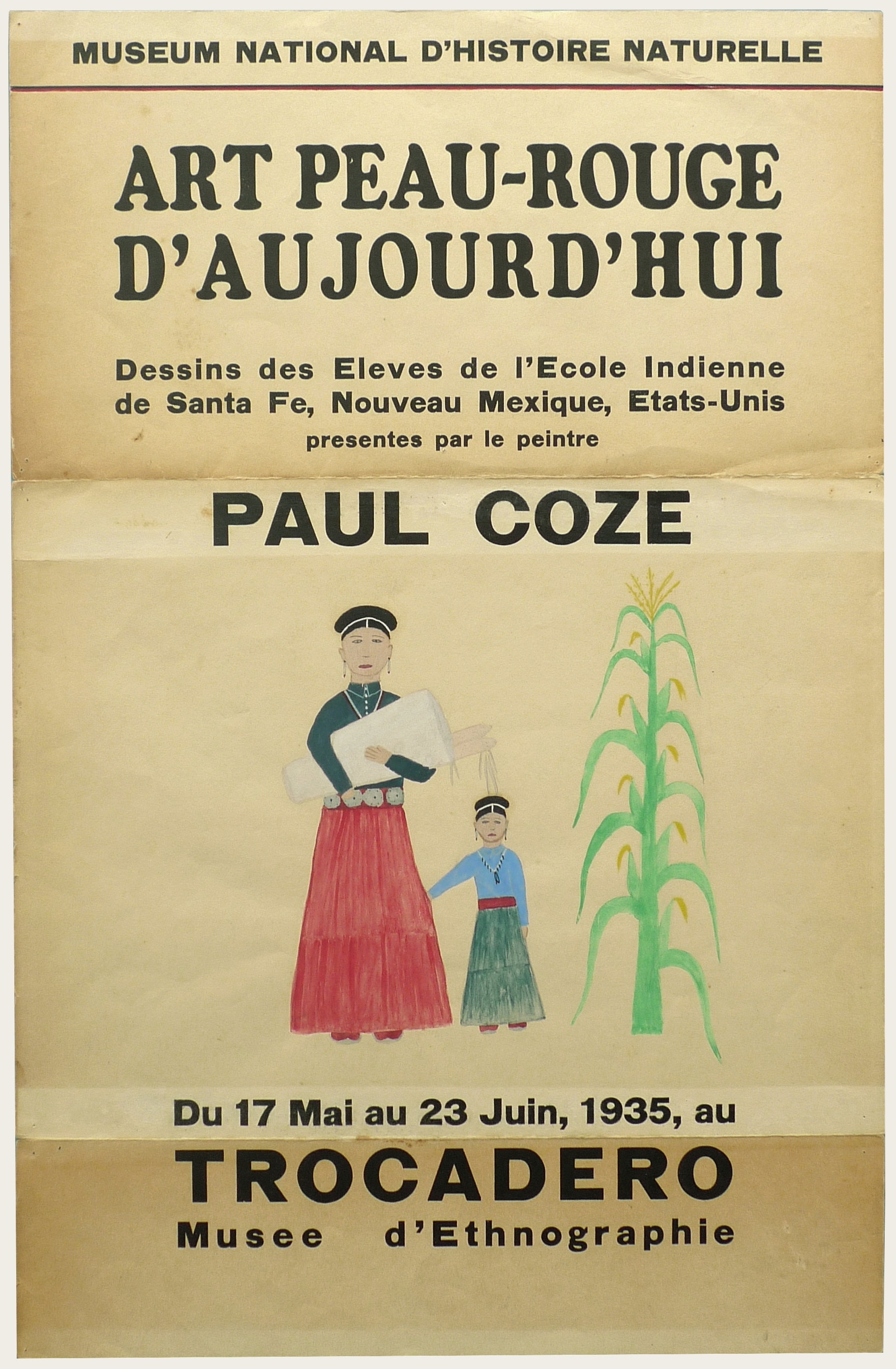 Art Exhibition Poster with painting of a tall figure clothed in a green shirt and red skirt at left, a short figure clothed in a turquoise shirt and green skirt at center, and a tall corn stalk at right. The figures face the viewer.