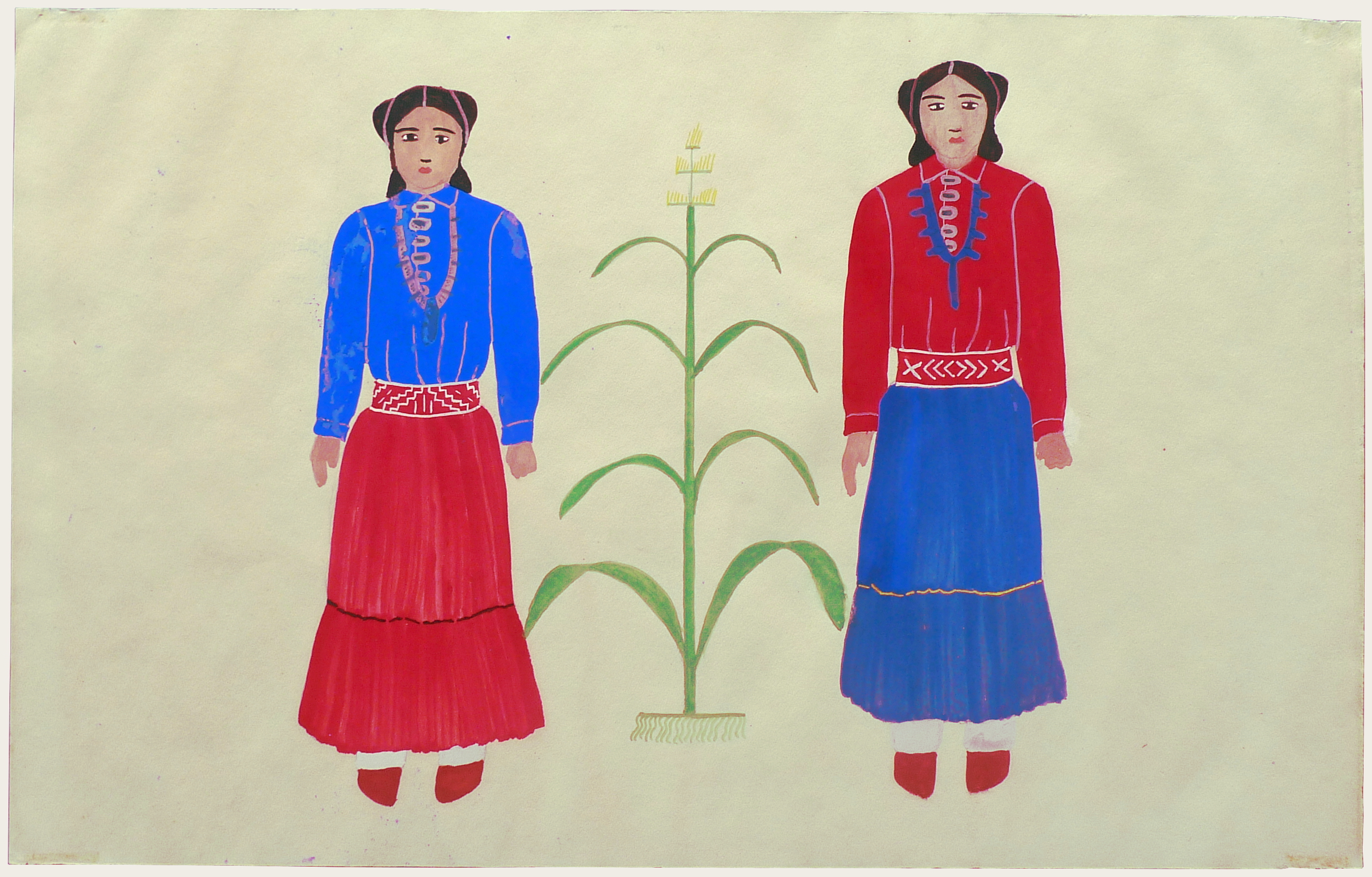 Art Exhibition Poster fragment with painting of two figures facing the viewer, flanking a corn stalk at center. The figure at left is clothed in a blue shirt and red skirt, the figure at right is clothed in the inverse colors.