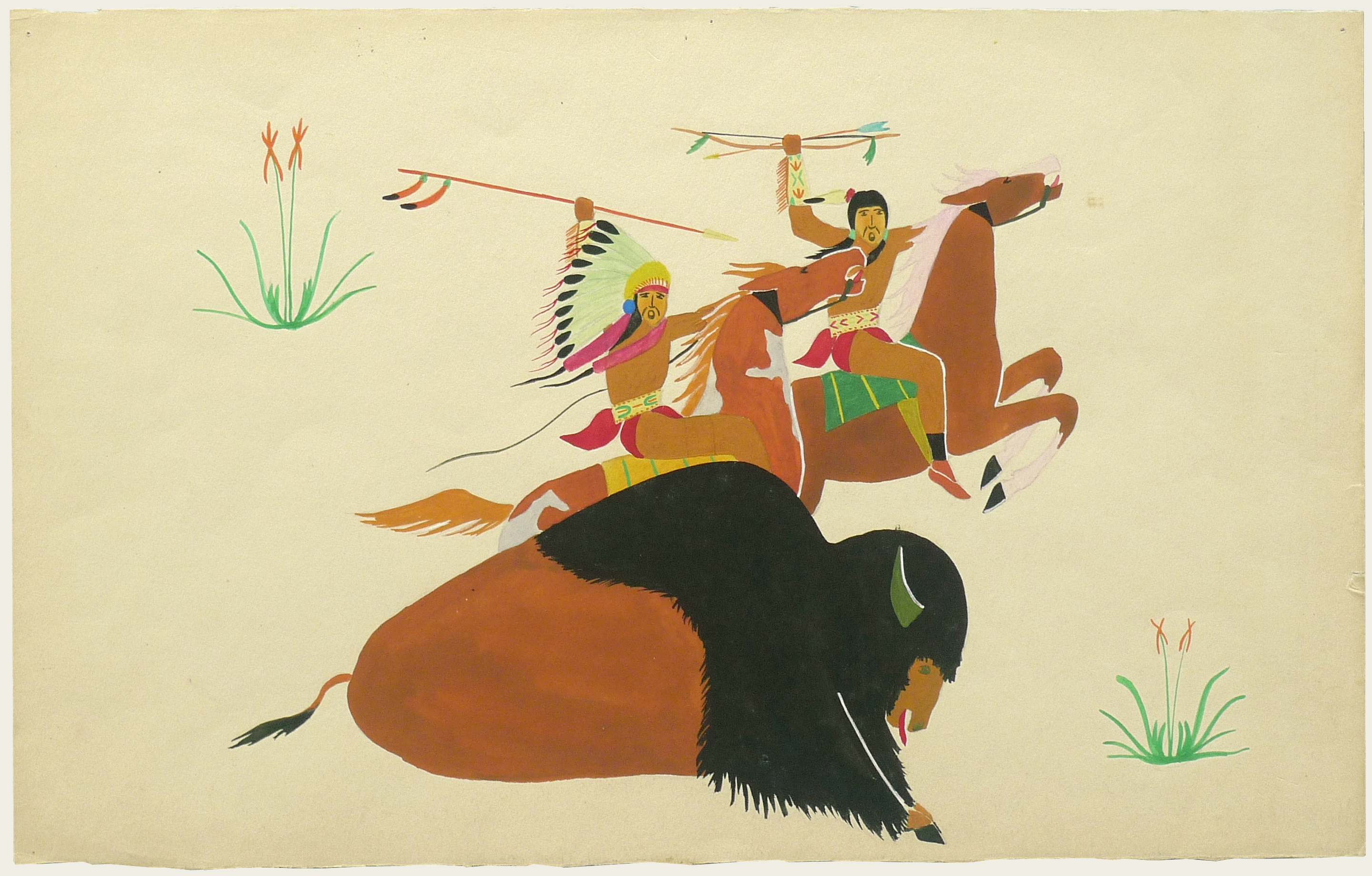 Art Exhibition Poster fragment with painting of two figures riding brown horses that run toward the right. The rider at left raises a spear and the rider at right waves a bow and arrow. A large buffalo lies in the foreground facing right.