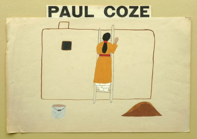 Art Exhibition Poster fragment with painting of figure in a tan dress facing away from the viewer, standing on a ladder that leans against an adobe structure. A white pail appears in the foreground.