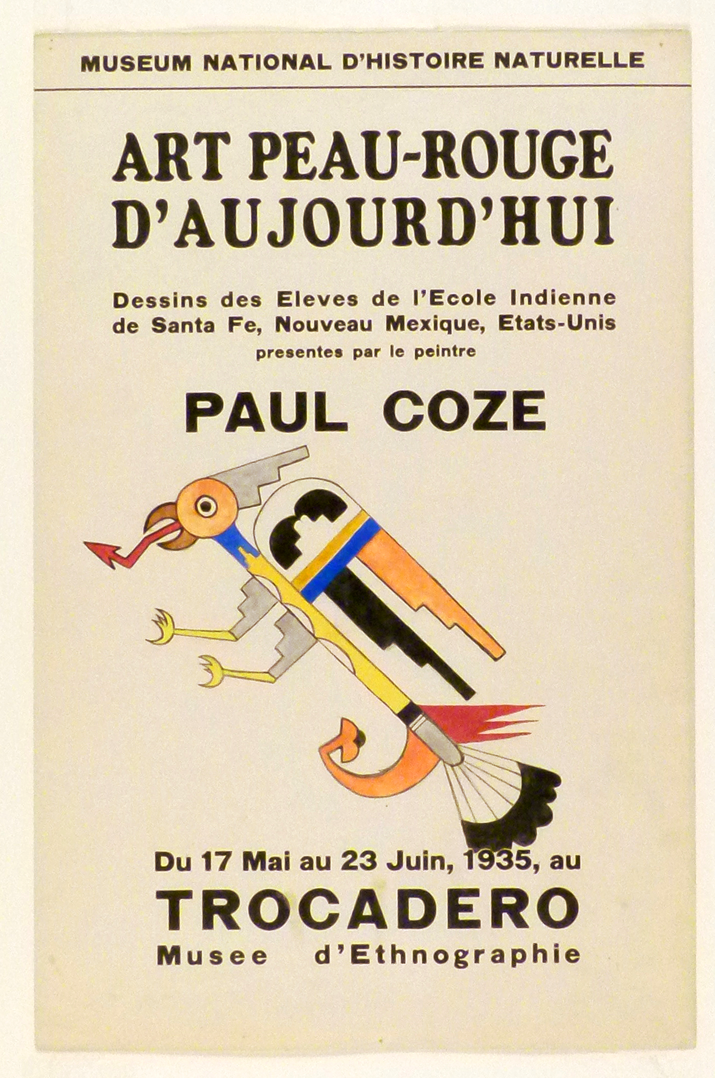Art Exhibition Poster with painting of bird-like figure comprised of brightly-colored geometric shapes, its talons extended as it flies toward the left.