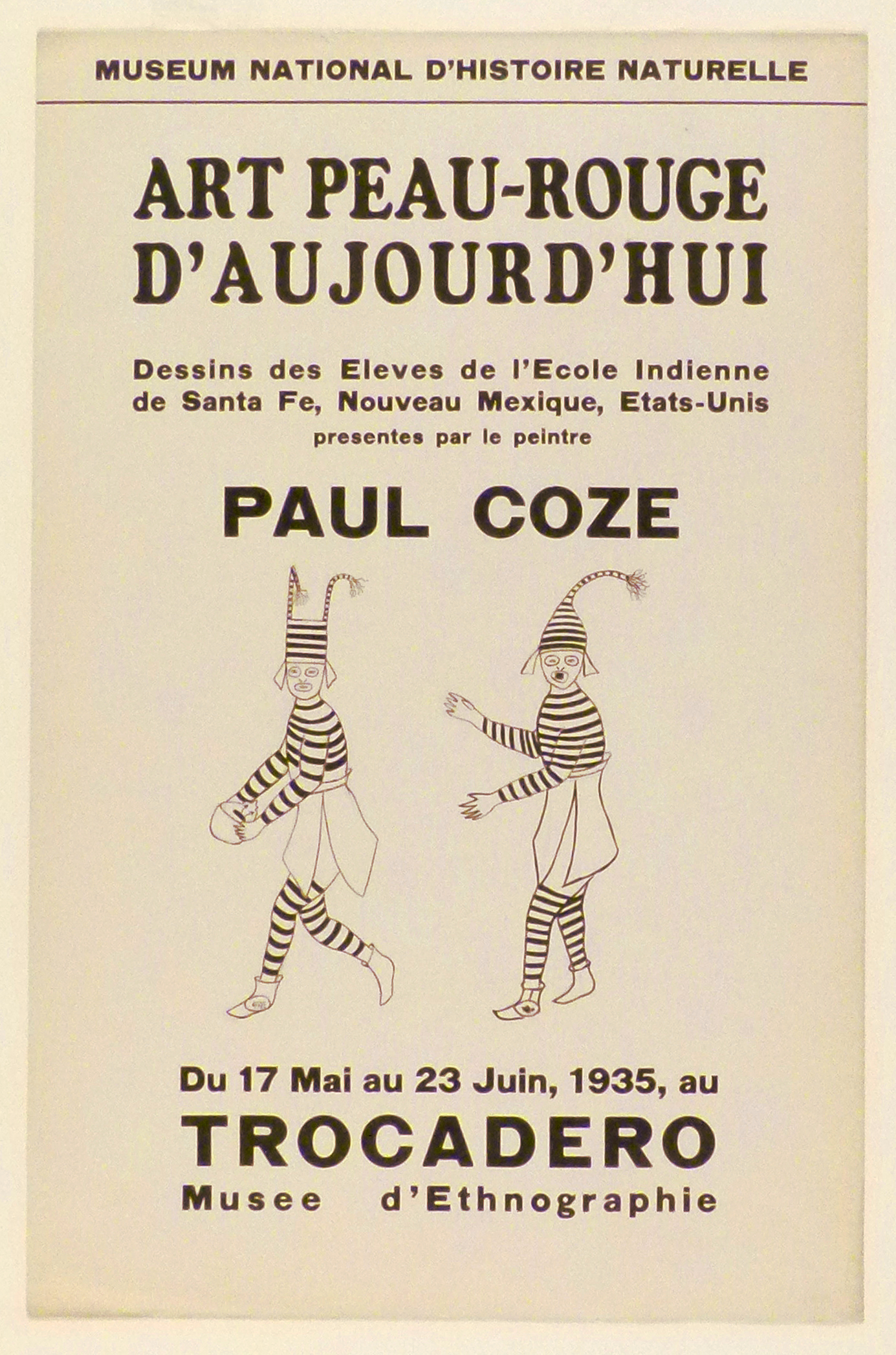 Art Exhibition Poster with painting of two figures in black and white striped clothing and hats with tassels.