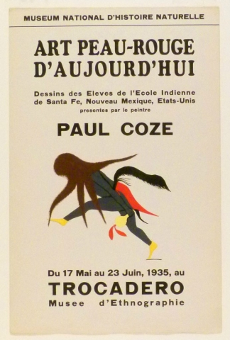 Art Exhibition Poster with painting of dancing figure clothed in gray and red with a brown headpiece, holding a yellow rattle and moving toward the left.