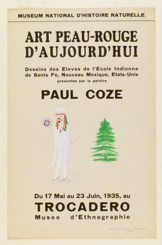 Art Exhibition Poster with painting of figure clothed in a white garment and headpiece standing next to the left of a green pine tree.
